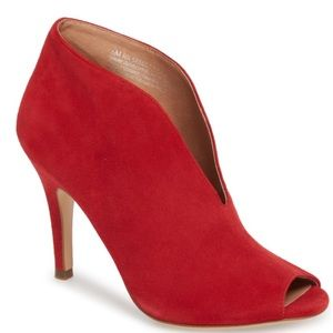 Halogen Red Peep Toe Bootie